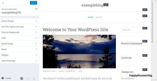 13-Customizer ‹ exampleblog241 — WordPress.com - Mozilla Firefox 332016 121655 PM